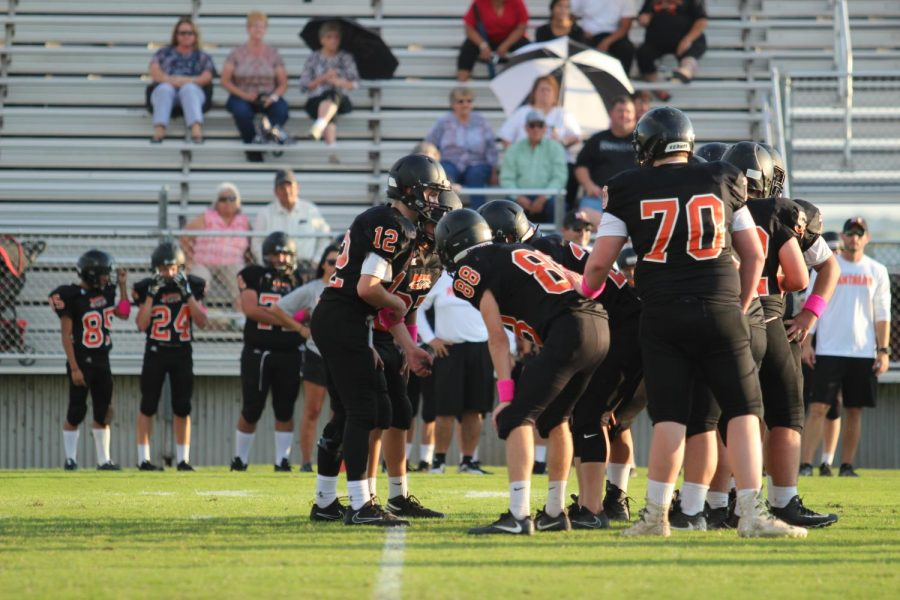 The Panthers huddling up to make a game plan to take down Tivy.