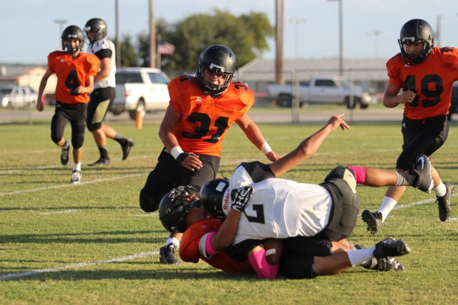 The JV Panthers take down the Matadors trying their hardest to keep them down.)