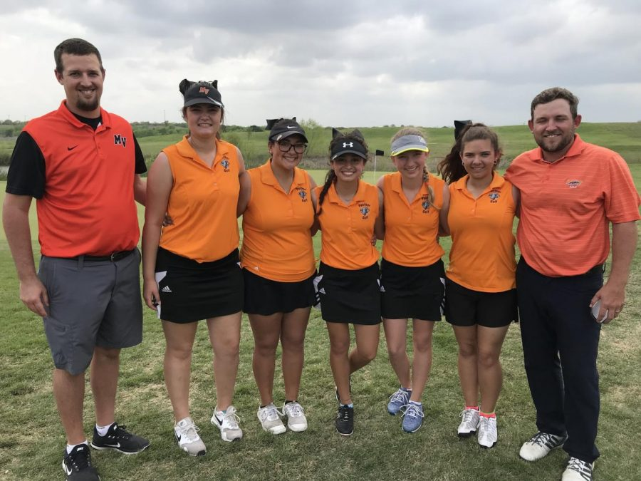 Coach Clary, Hannah Dowell, 9, Stephine Vela, 12, Gabriela McNelly, 10, Katie Scheiber, 12, Autumn Bjorklund, 10, and Coach Pritchard after the last day of the tournament.