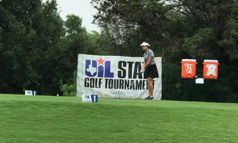 Gabriela McNelly, 10, teeing off on the first hole of White Wing Golf Club to begin State.