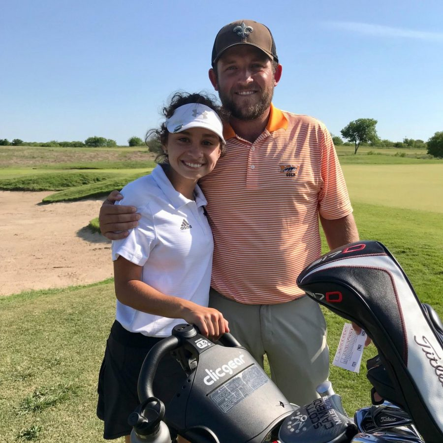 PC: C.Soza Gabriela McNelly,11, and Coach Pritchard on the 18th hole after the last day of Regionals.