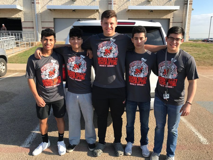 Freshman Joshua Bazan, juniors Fabian Bazan and Spencer Payne, and seniors Issac Moreno and Josh Valenzuela together, standing tall, before heading to State.