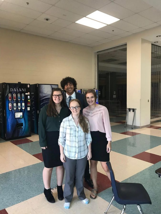 Seniors Kylee Hall, Jose Rodriguez, Elizabeth Gilmore, Brianna Barclay at Saturday's competition.