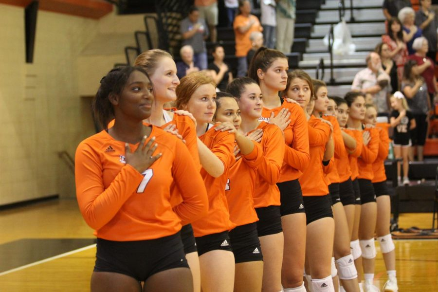 The Lady Panthers pause for the National Anthem before a game!  PC: Malorri James