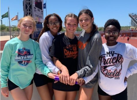 Left to right: Madalyn Aldridge, Jahnae McCain, Kaylyn Persyn, Haylee Hurtado, and Ellie Austin make up the relay team that broke a record set in 1993; the team will go to state.